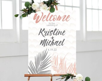 1a9dcc4aa24f Palm Wedding Welcome Sign Beach Tropical Theme Wedding Sign Personalized  Entryway Welcome Sign for Wedding Decor (Item - PLM650)