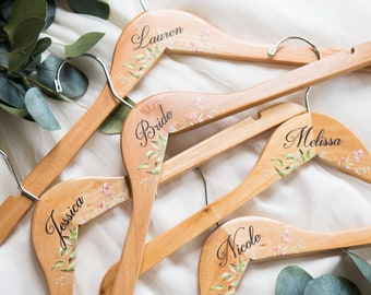 Wedding Hangers with Names or Titles for Bride & Bridesmaids Name Bridal Hanger for Wedding Dress Mrs Hanger Floral Geometric Personalized
