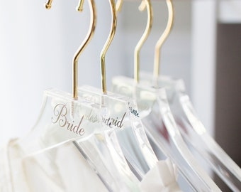 Wedding Hanger Clear Acrylic Personalized for Bride Bridesmaids Bridal Hangers for Wedding Dress Gold Hanger Modern Clear Mrs Hanger HCB340