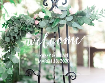 Wedding Welcome Sign Acrylic Wedding Sign Clear Painted for Wedding Display, Modern Wedding Decoration Sign Clear Acrylic (Item - WEC640)