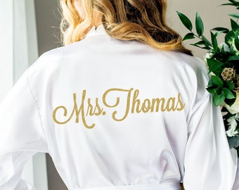 Wedding Robe Personalized Robe for Bride Bridesmaids Bridal Party Robes for Bridesmaids Name and Monogram Robes (Item - ROB100)