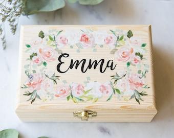 Bridesmaids Gift Box Jewelry Box Personalized Name, Flower Girl Gift Wooden Box Wedding Bridal Party Gift Name Box Wedding (Item - JBF340)