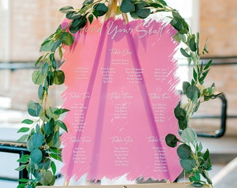 Wedding Seating Chart Signs Clear Painted for Wedding Display, Modern Seating Chart Decoration Signs Clear Acrylic (Item - FYS640)