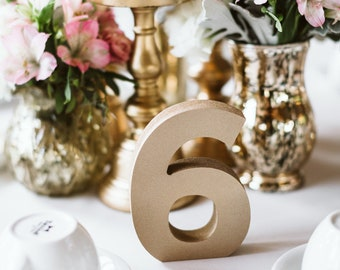 Wedding Table Numbers for Reception Table Decor, Table Numbers for Wedding or Party, Painted or Glitter Table Number Centerpiece Numbers