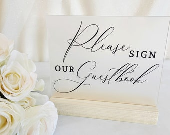 Guest Book Sign Clear Frosted Acrylic Sign for Wedding, Clear Acrylic Wedding Sign & Stand, Sign the Guestbook Table Sign (Item - GUB64F)