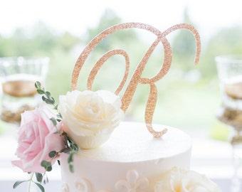 Wedding Cake Topper Letter Monogram in Glitter Gold or Custom, Party Cake Topper Wedding Decor Cake, Engagement, Shower Etc. (Item - CTL900)