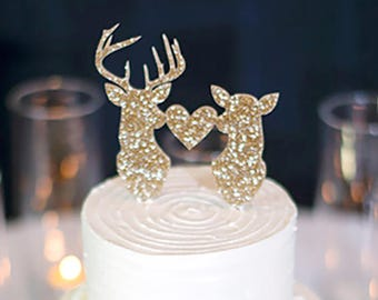 Cake Topper Deer Head Buck Head Hunting Rustic Theme Country Antler Wedding Cake Topper - Southern Themed Topper (Item - BHT800)