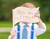 "Ringer Bearer Sign, Flag Shaped ""Here She Comes"" for Wedding Ringbearer Gift Little Boy Bridal Party Accessory for Ceremony (Item - RBF100)"