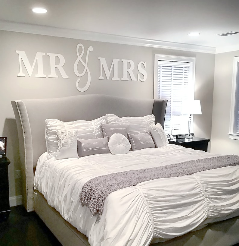 Mr Mrs Wall Sign Above Bed Decor And For Over