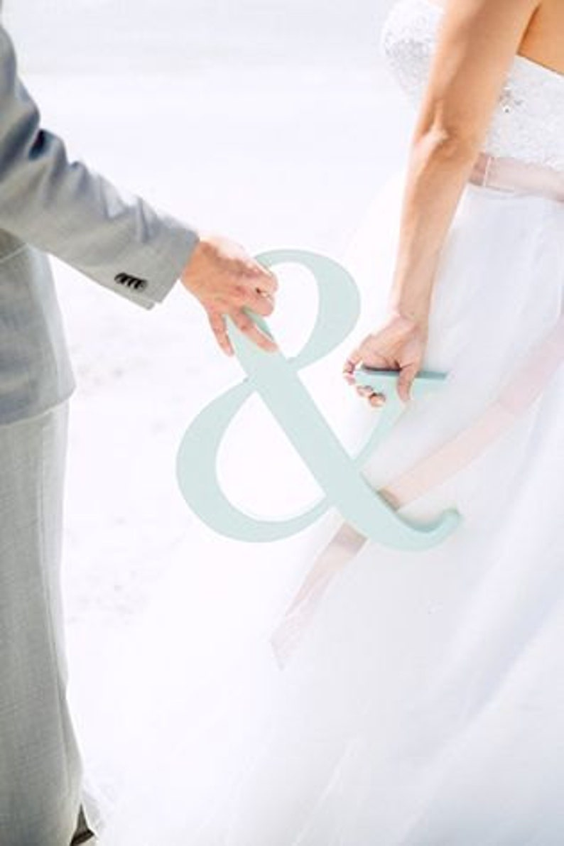 Item - AMP150 Ampersand Sign for Wedding or Engagement Photo Prop Wooden Wedding Sign or Decoration for Bride and Groom Wooden Decor