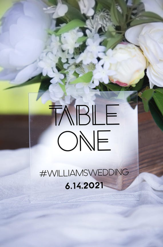 Clear Table Numbers Personalized Color Table Number Wedding Etsy