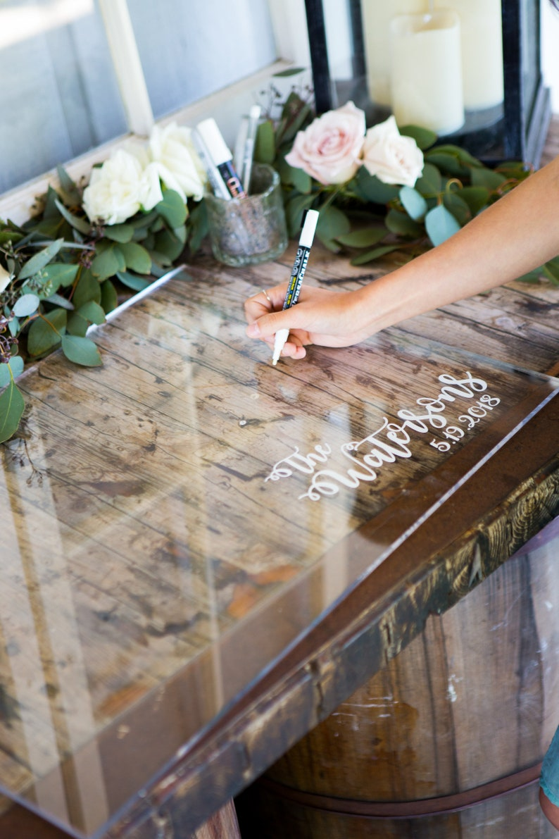 Guest Book Sign in Clear Acrylic Wedding Sign Personalized for image 0