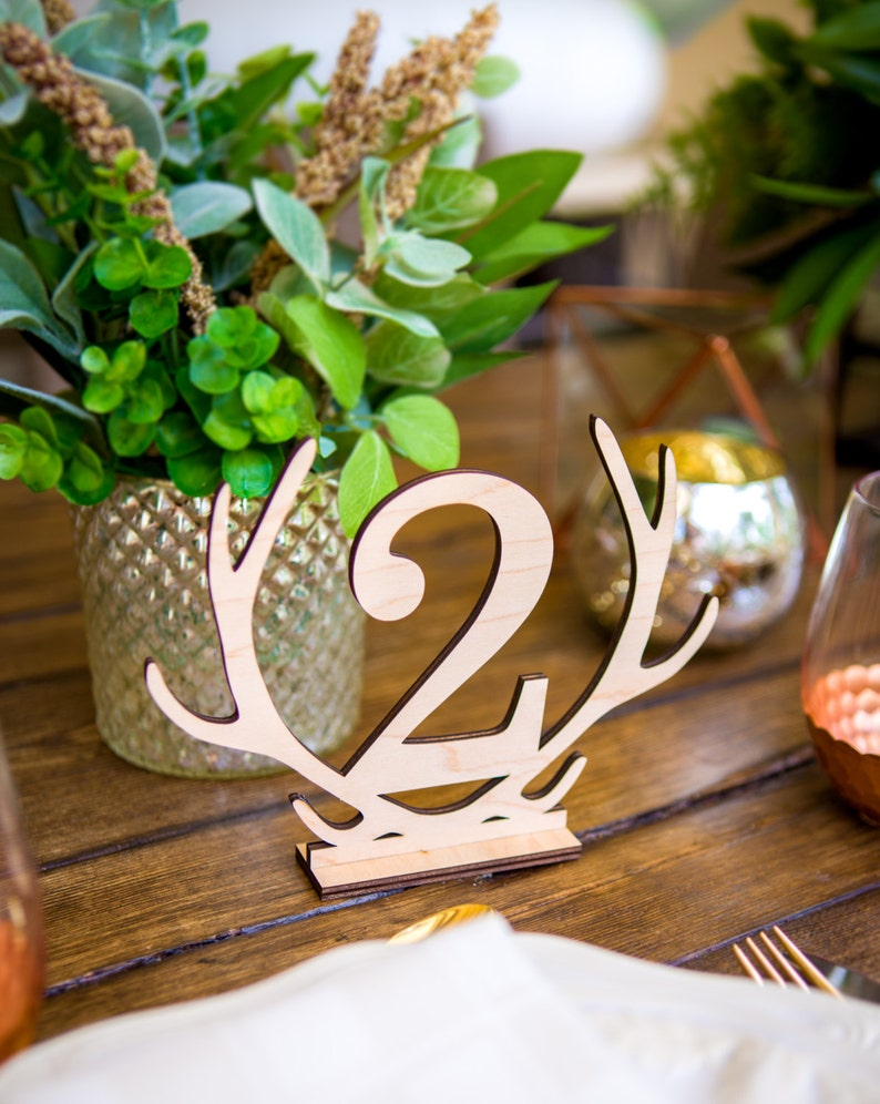 Merveilleux Rustic Antler Table Numbers   Boho Style Wooden Numbers For Table  Centerpieces Sticks Or Stands Wedding Decor Reception Sign (Item   LAS100)