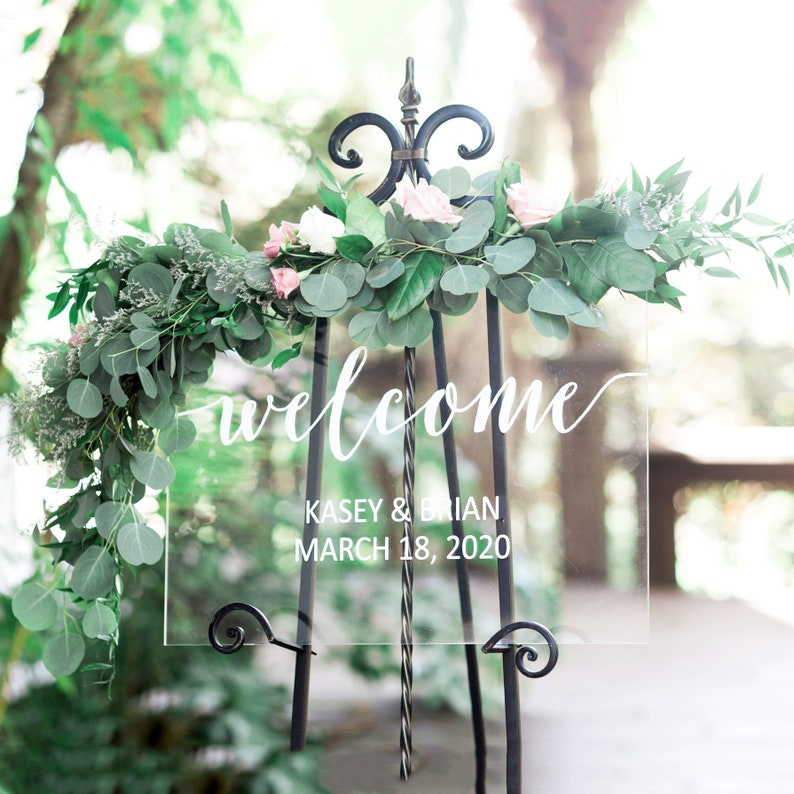 Wedding Welcome Sign Acrylic Wedding Sign Clear Painted for image 0
