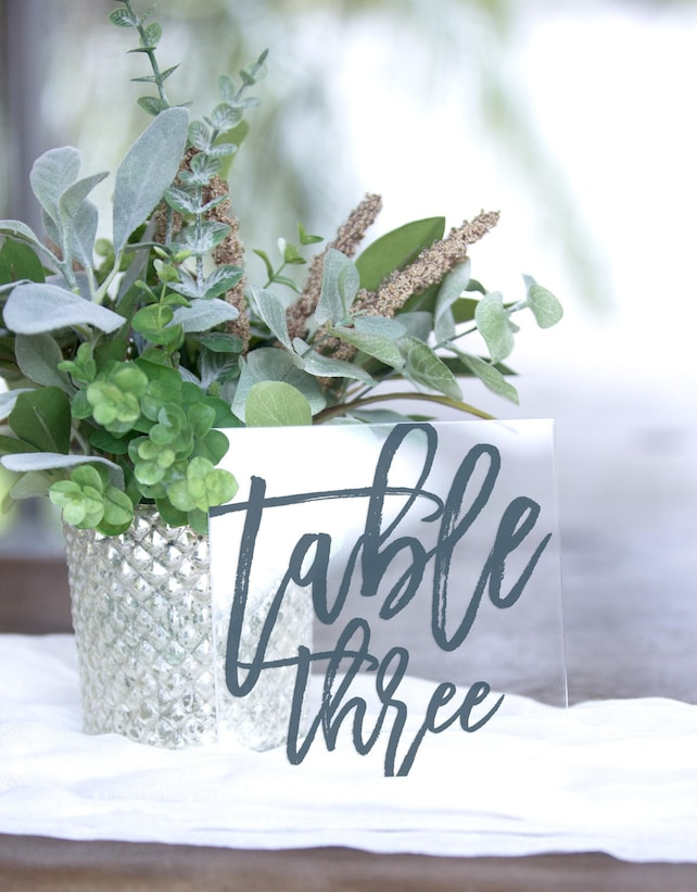 Table Numbers for Wedding Clear Centerpiece Table Signs Glass Style, Wedding Acrylic Wedding Sign Modern Calligraphy Sign (Item - MTB240)