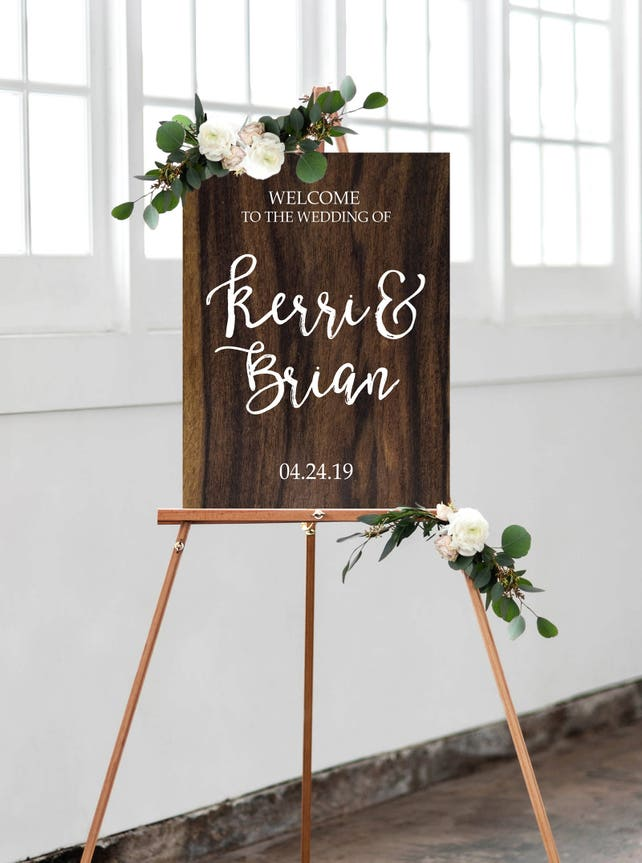 Wedding Welcome Sign with Personalized Names on Wood or Mod Style Calligraphy Wedding Style Artwork Sign Large in Size (Item - WPS240)