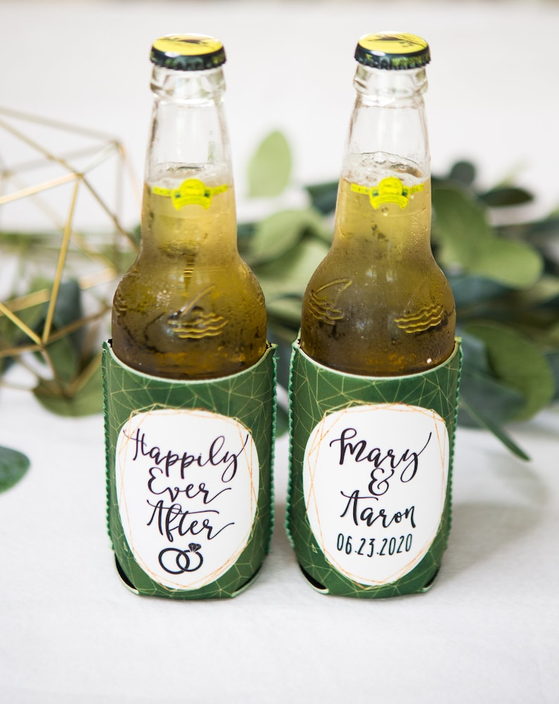 Item - GRK800 Personalized Geometric Style Wedding Favors Personalized Drinks Wedding Favors Bottle or Can Wedding Favor Drink Holders