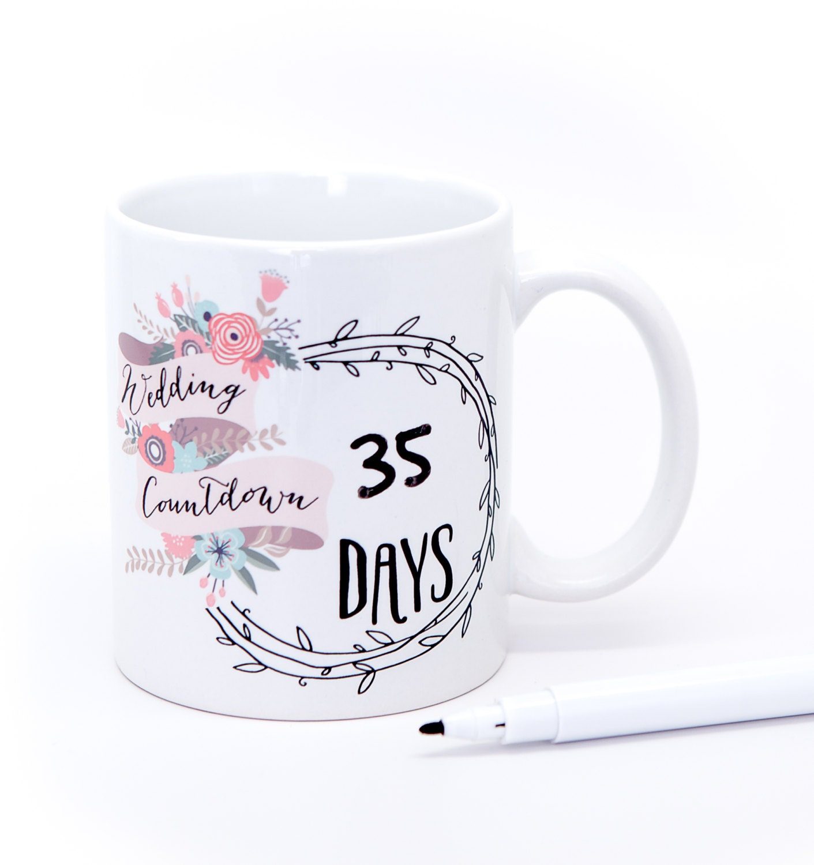 Wedding Mug Gift Set For Bride Wedding Countdown Days Til