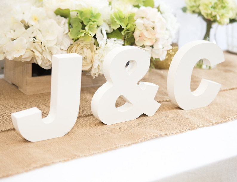 Wooden Letters  Freestanding Wedding Sign Initial Signs  image 0