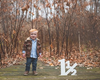 18 Month Old Toddler Photo Prop - 12 inch 1 1/2 for 18 Month Photo Shoot - Photography Props - Large Wooden Number Sign (Item - NUM001)
