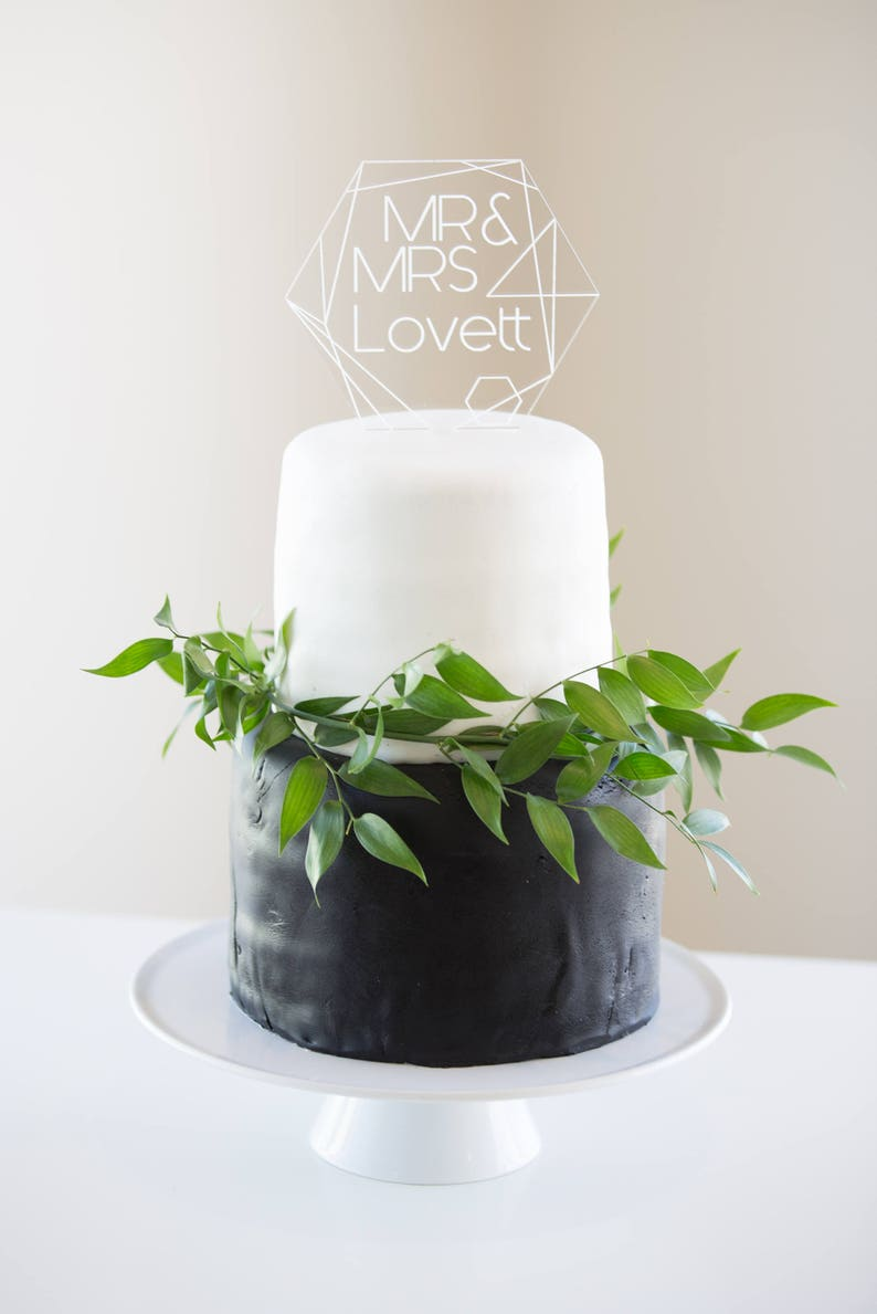 Geometric Wedding Cake Topper Clear Acrylic Personalized Names image 1