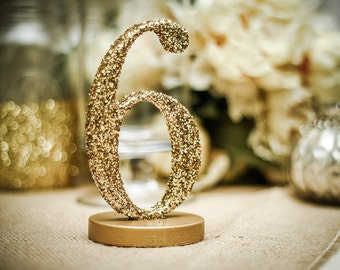 Glitter Table Number Centerpieces for Wedding Reception Decor, Numbers 1-10 (Item - GLI110)