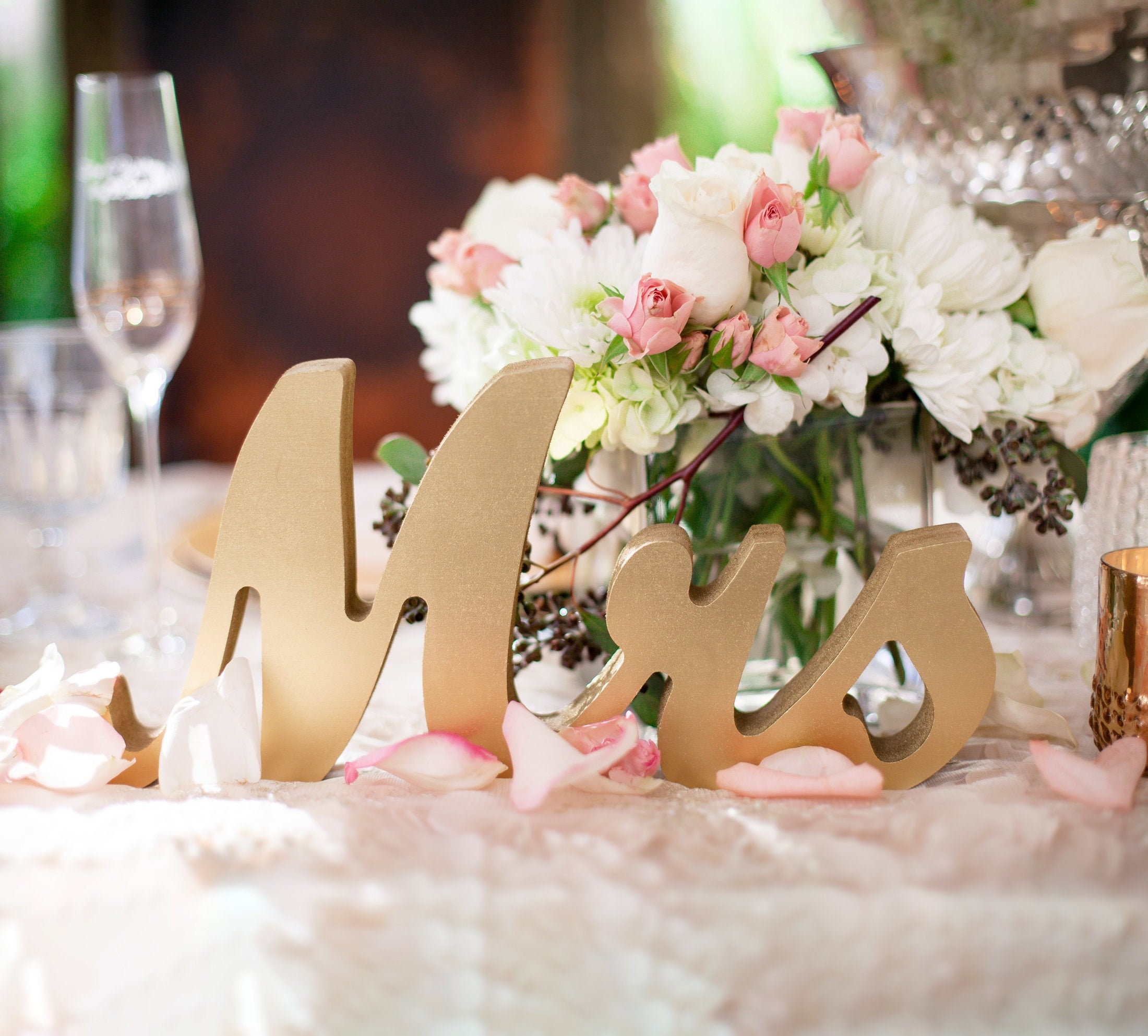 White Gray Rustic Wedding  Home Decor Silver Glitter Painted Wood Lettering Rustic Wooden Mr /& Mrs Decor