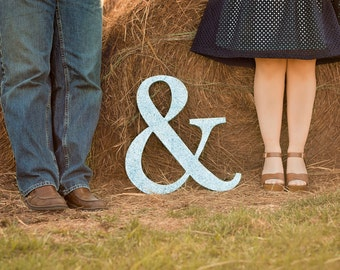 Ampersand Engagement Signs Wooden Letters Ampersand Sign in Wood for Engagement Photo Prop Save the Date or Wedding Decor (Item - AMP180)