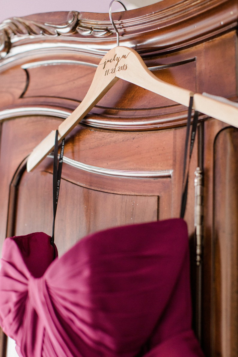 Wedding Hanger with Name for Bride and Bridesmaids Wedding Party Bridal Hanger for Wedding Dress Mrs Hanger