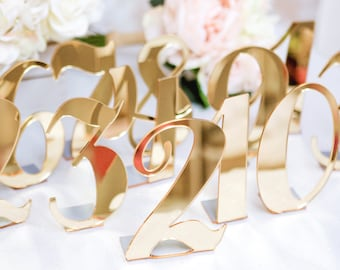 Acrylic Table Numbers for Weddings and Events, Standing Numbers Gold, Silver, Clear Acrylic Chic Wedding Decor Centerpieces (Item - ACB100)