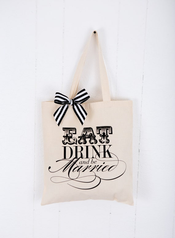 Tote Bag for Gift for Fiancé Bridal Party or Shower Gift Canvas for Bride to Be, Striped Ribbon Bag Gift for Wedding  ( Item - BED100)