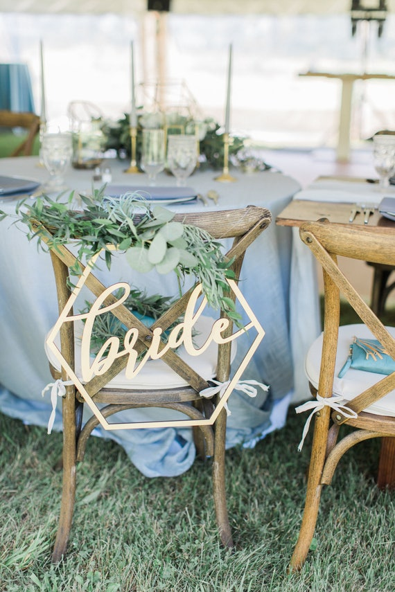 Marvelous Hexagon Wedding Chair Signs Geometric Style For Bride And Groom Wedding Chairs Hexagon Calligraphy Wooden Hanging Signs Set Item Gbg200 Pdpeps Interior Chair Design Pdpepsorg