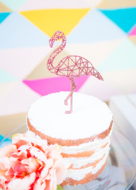 Flamingo Cake Topper Geometric Party Cake Topper Flamingo for Birthday or Wedding Cake Decor (Item - FLA100)
