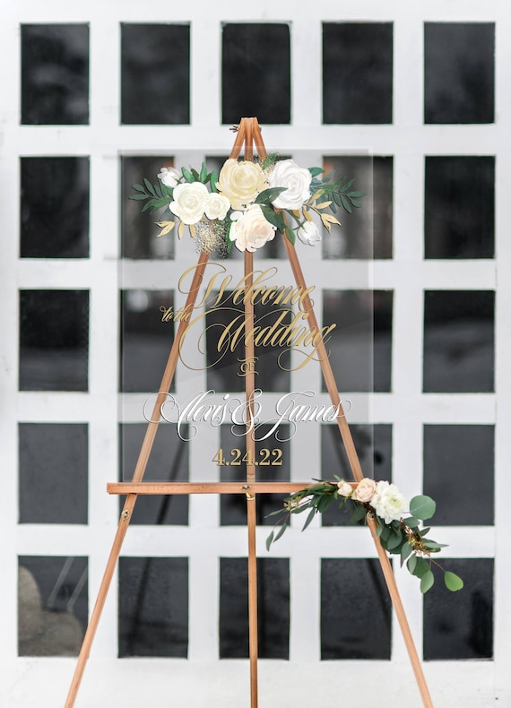 Wedding Welcome Sign Clear Acrylic Welcome Sign with Names Floral Design, Acrylic Wedding Sign (Item - LFL140)