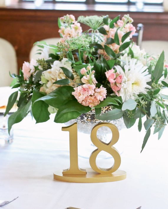 Wedding Table Numbers for Rustic Gold Wedding Decor, Romantic Gold Wedding Table Numbers, Wooden Custom Table Number Signs (Item - NUM120)