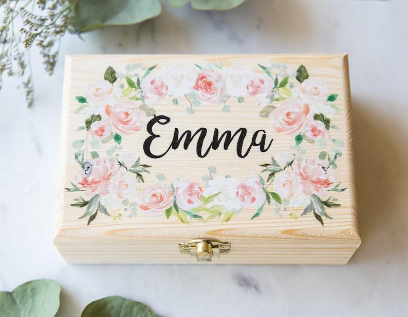 Bridesmaids Gift Box Jewelry Box Personalized Name Flower image 0