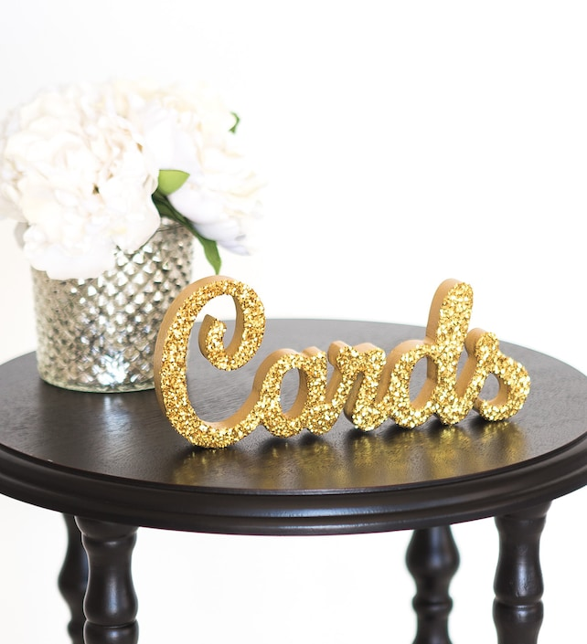 "Cards Sign for Wedding Gift Table - Freestanding ""Cards"" - Wooden Wedding Sign for Reception Decorations (Item - TCA100)"