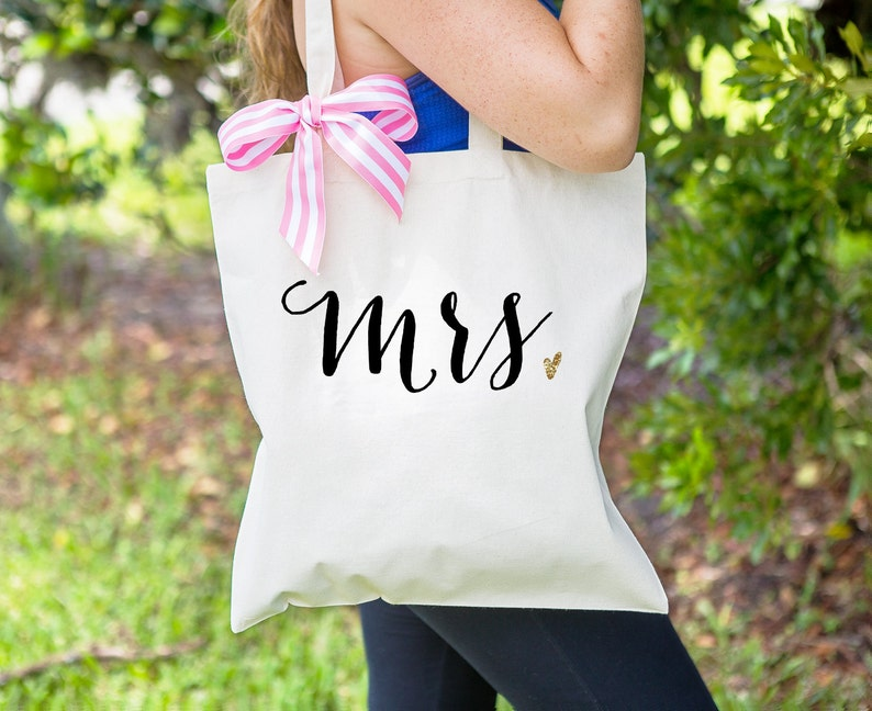 Gift for Bride or Wife Mrs Bag for Wedding Bridal Shower Gift image 0