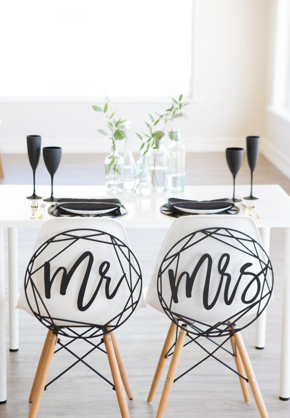 Pleasant Modern Wedding Chair Signs Geometric Style For Bride And Groom Wedding Chairs Minimalist Calligraphy Hanging Signs Set Item Moc210 Short Links Chair Design For Home Short Linksinfo