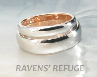 two tone platinum and rose gold classic domed wedding band set