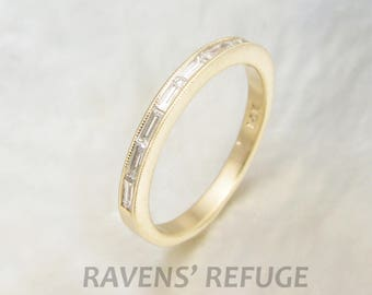 dainty baguette diamond ring, channel set -- baguette diamond wedding band with milgrain