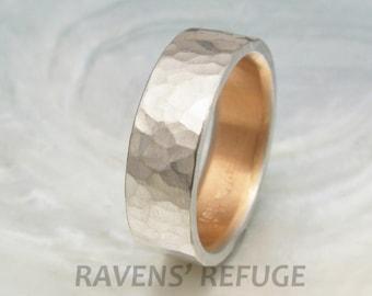 men's platinum wedding band -- 6mm comfort fit platinum wedding ring, hand hammered