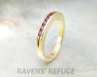 half eternity band in 18k yellow gold, channel set ring, artisan handmade
