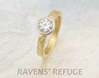 organic eco engagement ring -- hammered 18k gold band with low profile bezel-set diamond