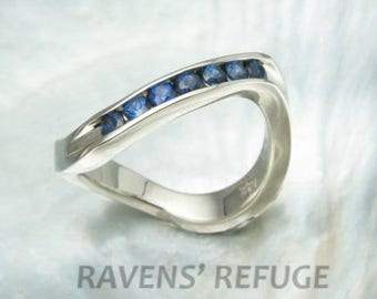 blue sapphire ring - half eternity band - wavy stacking ring -- channel setting in 14k white gold