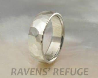 white gold ring -- 6mm hammered low dome wedding band for men or women