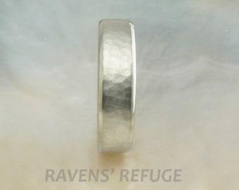 14k white gold hammered wedding band / men's wedding ring, comfort fit, 6mm wide