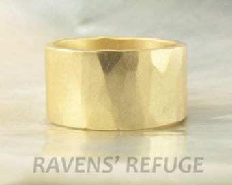 10mm wide ring / wedding band in 14k gold -- hand forged, hammered, rustic