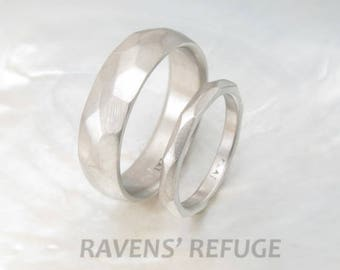 faceted platinum wedding band set -- his and hers textured rings