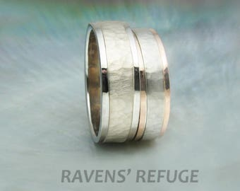 custom two tone wedding band set -- 5mm and 6mm hammered wedding rings